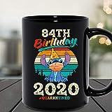 N\A 84th Birthday Celebration 2020 Quarantined Stitch Social Distancing Tazza in Ceramica Tazze da caffè grafiche Tazze Nere Top da tè novità Personalizzata 11 Oz