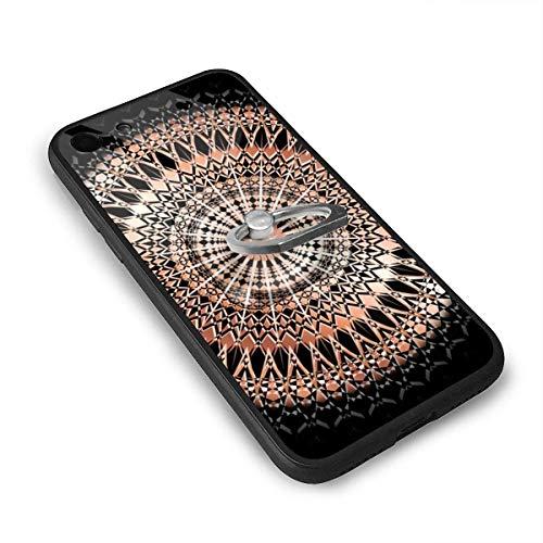 N/A zwart goud bloemen tapijt Hippy Gypsy muur opknoping sprei bank Cover Home Living 4.7 Inch iPhone 7 Case, iPhone 8 Case TPU glas telefoonhoesje met vierkante mobiele telefoon standaard