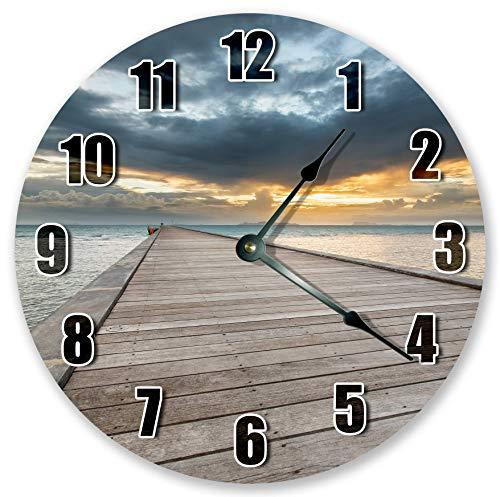 Reloj de pared de madera con acceso a muelle de pesca, grande, reloj de pared de madera, reloj de decoración del hogar para oficina, escuela, hogar, sala de estar, cuarto de baño, cocina, dormitorio decoración de 12 pulgadas. Decoración de playa, reloj redondo, reloj de playa, reloj de playa, decoración del hogar.