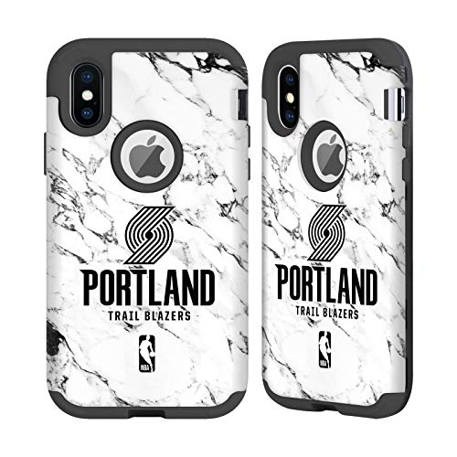Officiële NBA Wit marmer 2018/19 Portland Trail Blazers Zwarte Sentry Case Compatibel voor Apple iPhone X/iPhone XS
