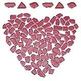 GORGECRAFT Azulejos de Mosaico 77Pcs, Azulejos de Mosaico de Cerámica de Forma Irregular, Decoración del Hogar de Piedra de Porcelana Teñida para Platos de Bricolaje,de Color Rojo Oscuro