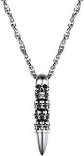 Stainess Steel Skull Bullet Pendant Necklaces for Men Skeleton 18K Gold Plated with Rolo Chain Punk Jewelry