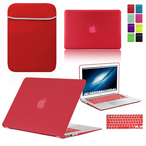Love My Case / BUNDLE RED Hard Shell Case with matching KEYBOARD Skin and NEOPRENE Sleeve Cover for Apple MacBook Air 13 inch (13') A1369 / A1466 [Will NOT fit MacBook Pro Models]