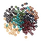 HEALLILY Wooden Dreadlock Beads Hair Beads Loose Spacer Beads Ring Dreadlock Accessories 800pcs (Mixed color)
