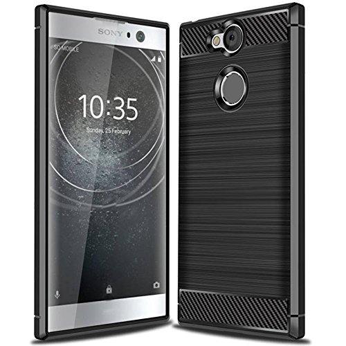 Acelive Sony Xperia XA2 Hülle, Karbonfaser Elastisch Schützendes TPU Silikon Handyhülle Schutz vor Stürzen & Stößen Huelle Hülle für Sony Xperia XA2 (schwarz)