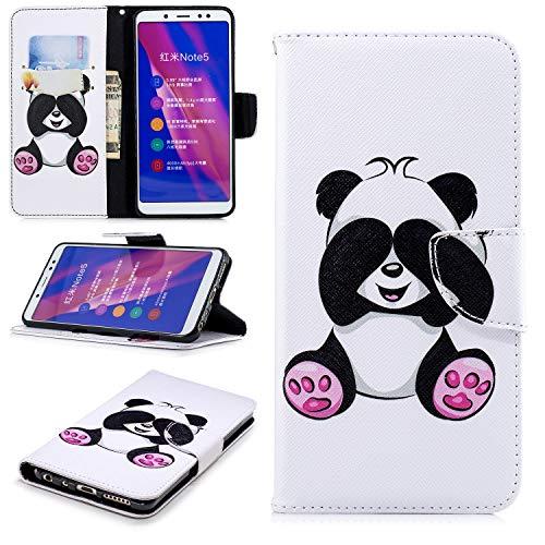 BgkjZX Funda Xiaomi Redmi Note 5/Note 5PRO - Funda para Xiaomi Redmi Note 5/Note 5PRO Protector de Tarjeta con Tapa de Billetera de Cuero PU,Funda de Cuero Pintada a la Moda [Panda Gigante]