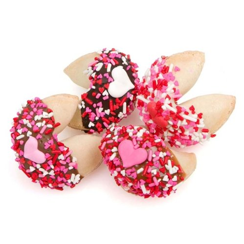 Romantic Decorated and Dipped Fortune Cookies - Set of 12 (Valentine Decorations)