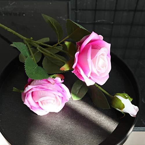 Hunpta@ Künstliche Rose Blumen, 1 Strauß 3 Köpfe Flanell Perle Rose DIY Hochzeitsstrauß Kunstblumen Blumenarrangement für Haus Büro Balkon Garten Hochzeit Party Valentinstag Dekoration