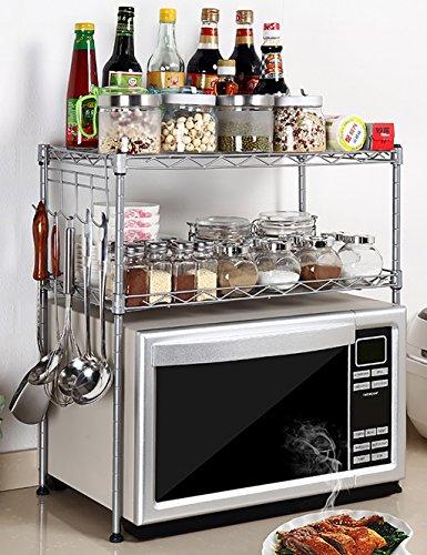 LHP Etagères Cuisine Four à Micro-Ondes Rack Rack Rack de Rangement Rack de Rangement Clean Dish (Deux Couleurs en Option) (Couleur : Silver, Taille : 55 * 30 * 55cm)