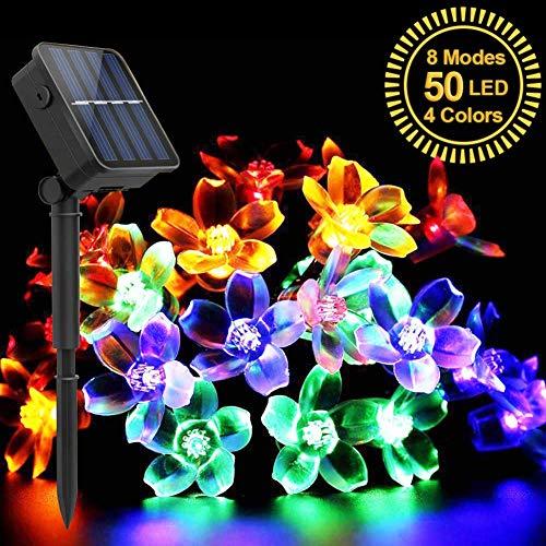 Uping Guirlande Lumineuse, 50 LEDs 7 Mètres, en Forme de Fleur, Energy Solaire, Décoration Intérieur/Extérieur pour Jardin Maison Mariage Soirée Fête et Cérémonie(Multicolore)