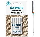 Schmetz, aghi per macchina da cucire: 5 aghi per jersey, spessore ago 70/10, 130/705 H-SUK, utilizzabili su qualsiasi macchina da cucire domestica, adatti per la lavorazione di jersey, lavori a maglia e articoli di qualità.