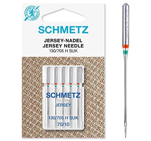 SCHMETZ Aghi per macchina da cucire: 5 aghi in jersey, spessore ferri 70/10, 130/705 H-SUK, utilizzabili su qualsiasi macchina da cucire domestica, adatti per la lavorazione di jersey, articoli per lavoro a maglia e aghi