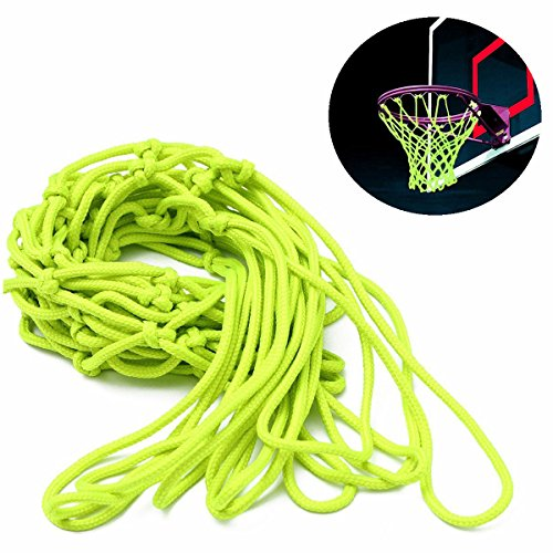 Cisixin Basketballnetz Basketball Ersatznetz grün Glow In The Dark Basketballkorb, geflochtenem Nylon.