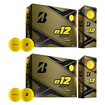 Bridgestone Golf Series Soft e12 3-Piece Distance Golf Balls 1 Dozen, Yellow (2 Pack)