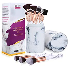 Makeup Brushes DUAIU Make Up Brush Set Professional 15-Piece Marble Make Up Brushes for Foundation Powder Concealers and Eyeshadow with Exquisite Marble Bucket Gift Box