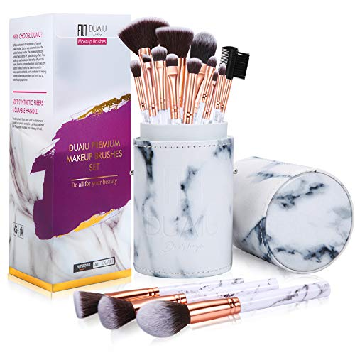 DUAIU brochas de maquillaje profesional de mármol profesionales de 15 piezas brochas maquillaje para en polvo de base y sombra de ojos con un cubo de mármol Caja de regalo