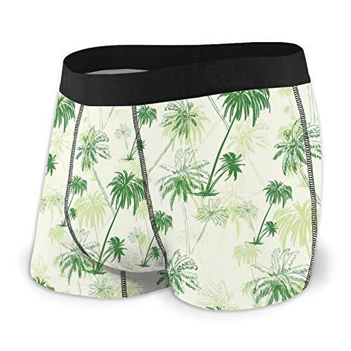 Men's Boxer Briefs Underwear,Sketch Palm Tree North Pacific Ocean Foliage Abstract Monochrome Design L