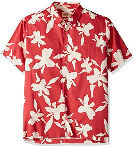 Quiksilver Waterman Men's Waikiki Button Down Shirt, Cardinal WIKIKI Nights, L