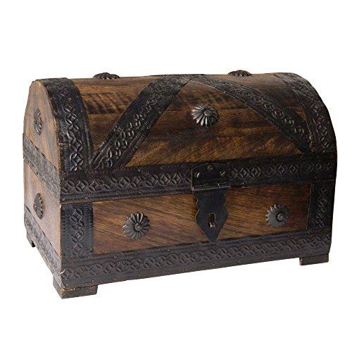 Bauletto portaoggetti in legno stile forziere dei pirati 23x16x15 cm artigianato indiano accessori decorazione casa