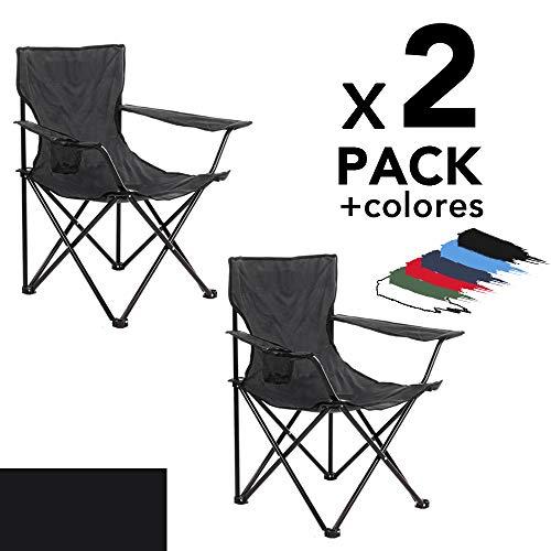 Arcoiris Silla de Camping, Silla de Acampada Plegable con 2 Unidades (Negro 2pack)