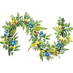 WANNA-CUL 6ft Spring Summer Artificial Carnation Flower Garland, Blue and Yellow Floral Mantel Garland with Pomegranates,Papaver Rhoeas,Daisy,Fern Leaf for Wedding,Wall or Home Decoration