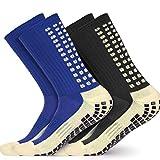Wrzbest 2 Pair Anti Slip Soccer/Football/Basketball/Hockey/Futbol Yoga Sports Socks with Grips for Adults Shoe Sizes 6-11.5 (2 Pair Anti Slip Ankle Socks)