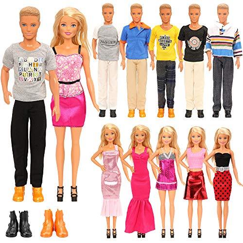 Miunana 15 Kleidung Kleider Bekleidung für Puppen = 5 Freizeitbekleidung + 5 Hosen +2 Paar Schuhe für Jungen Puppen + 3 Kleider für 11,5 Zoll Mädchen Puppen