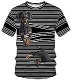 Ocean Plus Unisexo Camiseta de Deporte Cuello Redondo Disfraz con Estampado Digital Carnaval Tops con Mangas Cortas Tallas S-3XL (3XL/180-185, Banda de Goma Perro a Rayas)