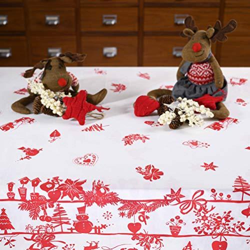 Giovanni Dolcinotti Christmas Collection  Tovaglia Natalizia Rossa Decorazioni Natale 12 posti, 140x280 cm Made in Italy