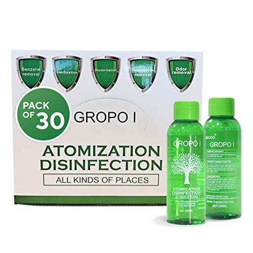 Gecco Gropo I Air Disinfectant Fogger Solution – Mist Sanitizer Fogger Disinfectant Sprayer Refill Pairs with Gropo I Disinfectant Fogger Machine – No Rinse, No Residue – 30 Bottles Pack (100ml Each)