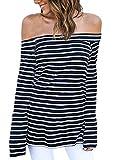 Camisetas Mujer Elegante Primavera Otoño Barco Cuello Sin T
