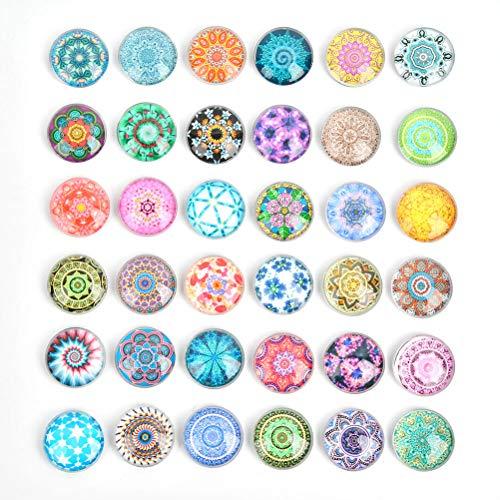 36 imanes para nevera, 30 mm, redondos, decorativos, de cristal, con diseño de mandala, para nevera, pizarra blanca
