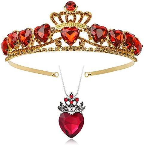 Botrinal Evie Royal Red Heart Necklace and Tiara Descendants Red Heart Crown Jewelry Set Queen product image