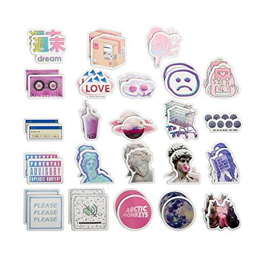 Inveroo 45 Pcs/Bag Cute Label Kawaii Vapor Wave Stickers Diary DIY Zusätze Papier Flake Booking Stationery Vaporwave Sticker