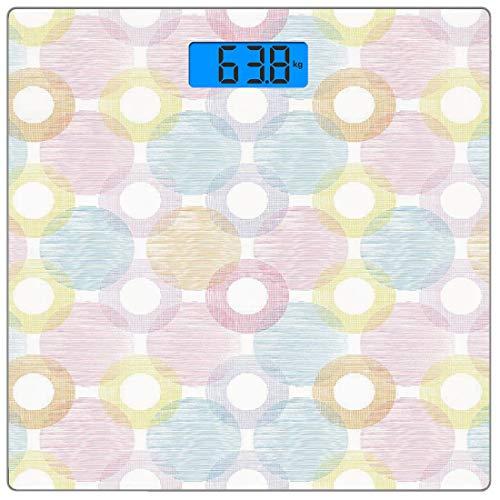Digitale Präzisionswaage für das Körpergewicht Platz Pastell Ultra dünne ausgeglichenes Glas-Badezimmerwaage-genaue Gewichts-Maße,Ringformen und Big Spots Dots Symmetrisch überlappende Figuren Geometr