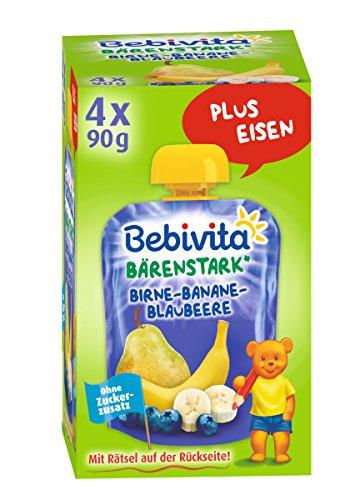 Bebivita Birne-Banane-Blaubeere, 4er Pack ( 4 x 4 x 90 g )