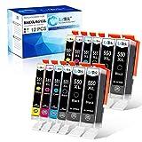 12 LxTek 550XL 551XL Patronen Kompatibel für Canon PGI-550 CLI-551 XL Druckerpatronen für Canon Pixma MX925 MX725 MX920 IP7200 IP7250 IX6850 MG5400 MG5450 MG5550 MG5650 MG6450 MG6650 MG7500