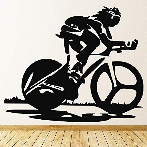 YuanMinglu Vélo de Course vélo Sport Stickers muraux Enfants Chambre pépinière Vinyle Stickers muraux Chambre à Coucher Design intérieur Moderne Exercice à la Maison 42X50.4CM