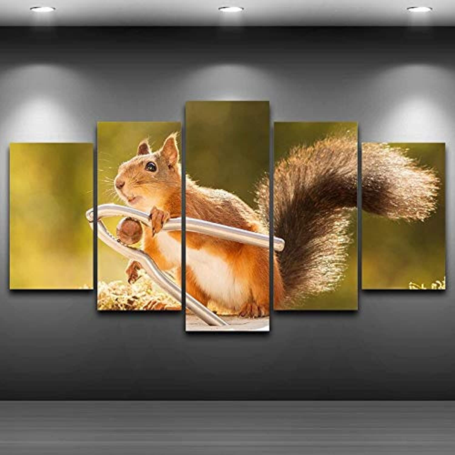 Painting Interior for Room Wall Frame HD Printed on Canvas 5 Panel Poster Beautiful Animal Squirrel Modular Picture