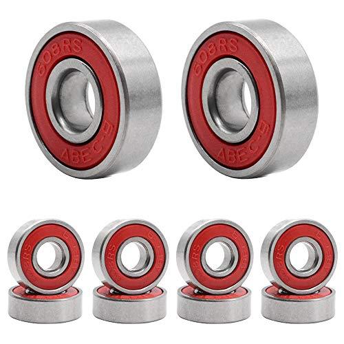 HOSTK 100Pcs Cuscinetto del Pattino di, 608 ABEC-9 Cuscinetti del Pattino in-Line della Ruota di Acciaio di Pattinaggio Antiusura per Longboard (Rosso)