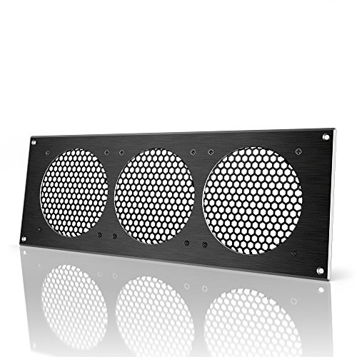 "AC Infinity Black Ventilation Grille 18"", for PC Computer AV Electronic Cabinets, Also mounts Three 120mm Fans"