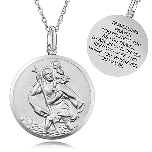 St Christophers Traveller's Prayer God Protect US Sterling Silver Necklace, Mens, Womens