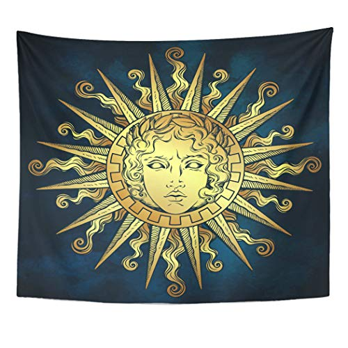 Emvency Decor Wall Tapestry Helios Antique Sun Face of The Greek and Roman Apollo Over Blue Sky Flash Tattoo Mythology Wall Hanging Picnic for Bedroom Living Room Dorm 60x50 Inches
