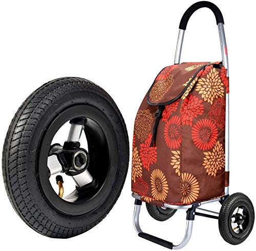 CENPEN Carrito de la compra escaleras plegables carro de compras portátil pequeño tirón rueda inflable carro hogar pequeño choque absorción desgaste caucho