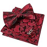 Alizeal Set Paisley Bow Tie, Hanky e Gemelli da uomo (marrone) (Taglia: una sola misura)