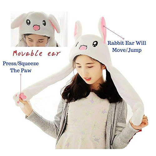 TitanZ [Trend of 2018 TIK Tok Movable/Jumping Rabbit Ear Hat[Rabbit Plushy][Costume Hat][Easter Hat][Halloween Hat][Easter Bunny], White