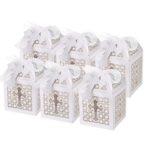 LEMESO 50 Cajas Papel para Dulces Recuerdos de FiestasBoda Cajas Blanco de Cruz Hueco para Bautizo Bebe shower Decoración Boda con 50 Cintas de Seda y 50 Etiquetas