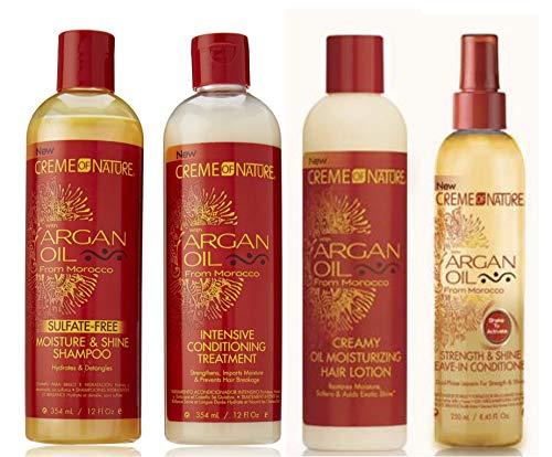 Crème Of Nature - Lot de 4 soins capillaires à l'huile d'argan du Maroc - shampoing/après-shampoing/après-shampoing sans rinçage/lotion hydratante à l'huile