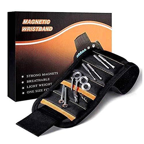 Sinzau Magnetische armband met 15 krachtige magneten, verstelbare klittenband, magneetarmband gereedschap voor het vasthouden van schroeven, boren en spijkers, doe-het-zelf gereedschap, cadeau voor mannen (zwart)
