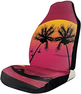 GULTMEE Car Front Seat Covers Vehicle Protector Mat Covers,Girl Lying Down in A Hammock Caribbean Coast Relax Vacation Sunset,Fit Most Cars,Sedan,Truck,SUV